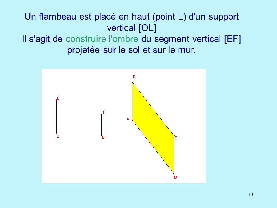 Un flambeau est placé en haut (point L) d un support vertical [OL] Il s agit de construire l ombre du segment vertical [EF] projetée sur le sol et sur le mur.